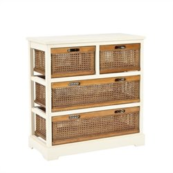 Safavieh Willow Pine 4 Drawer Storage Cabinet in White