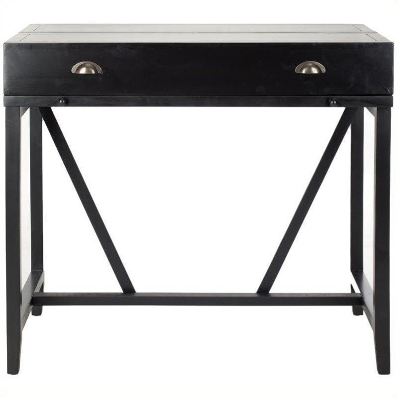 Safavieh Wyatt Pine Wood Writing Desk in Black