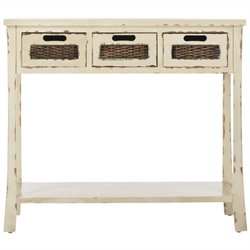 Safavieh Autumn Pine Wood 3 Drawer Console in White