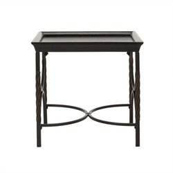 Safavieh Donner Antique Pewter End Table in Dark Walnut