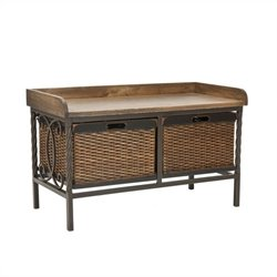 Safavieh Bergen Elm Wood Storage Bench in Pewter and Ash