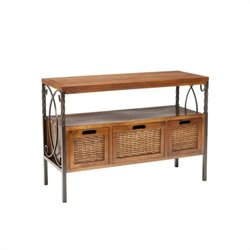 Safavieh Jasper Pine Wood Console Table in Pewter and Walnut