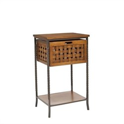 Safavieh Ryan Pine Wood End Table in Pewter and Oak