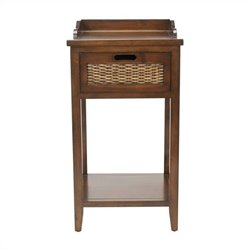 Safavieh Wallace Pine Wood Side Table in Walnut