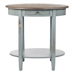 Safavieh Bianca Pine Wood Oval End Table in Brown and Gray