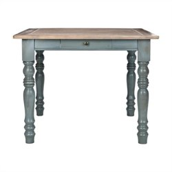 Safavieh Lena Pine Wood Dining Table in Pale Blue and Light Oak