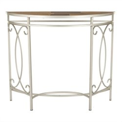 Safavieh Jacky Mixed Wood Console in White and Multi Brown