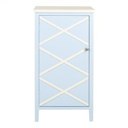 Safavieh Cary Poplar Wood Cabinet in Light Blue and White
