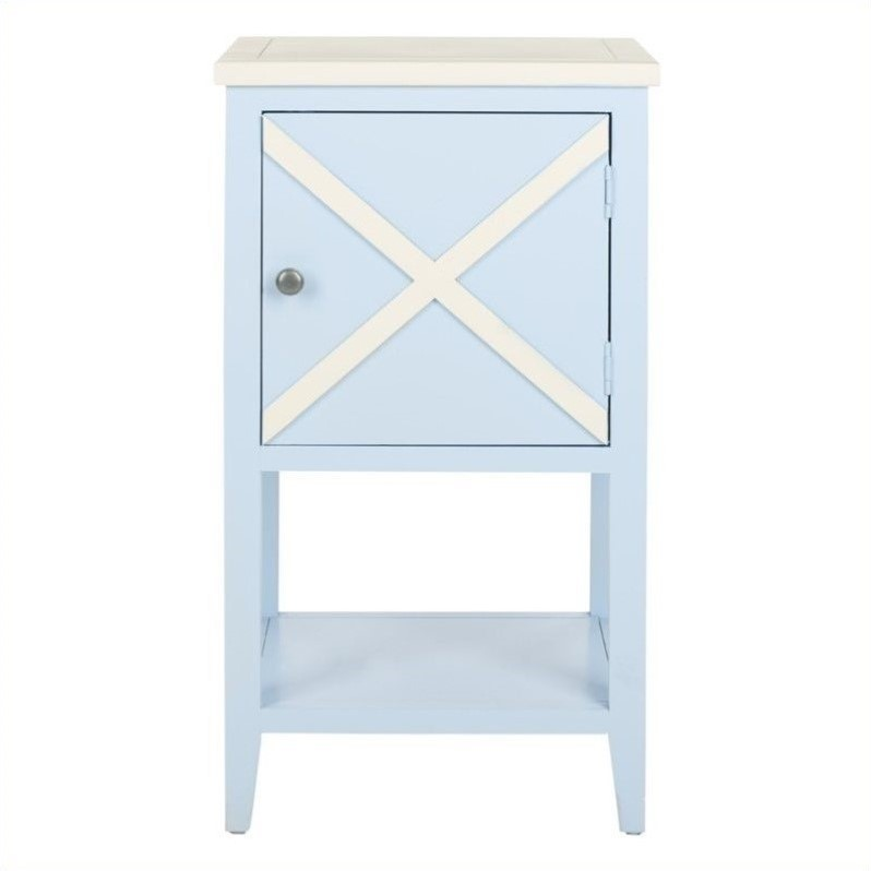 Safavieh ward poplar wood side table in light blue and for Light wood side table