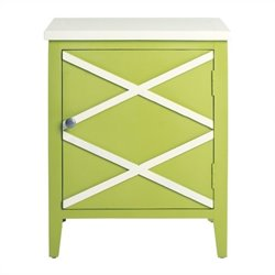 Safavieh Bernardo Poplar Wood Side Cabinet in Green and White