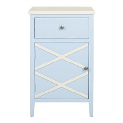 Safavieh Alan Poplar Wood End Table in Light Blue and White