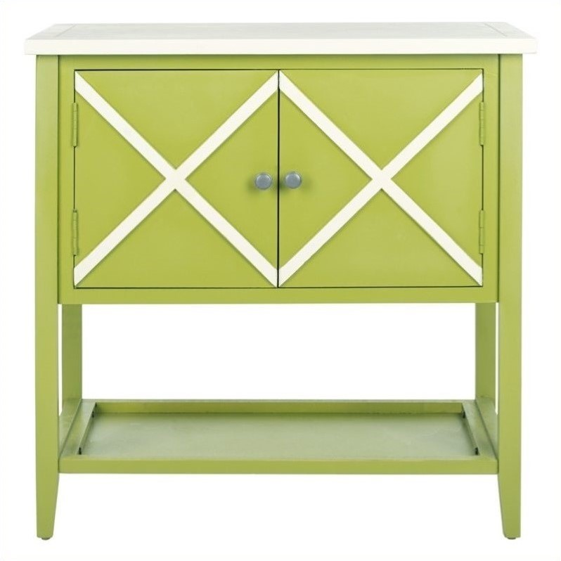 Safavieh Polly Poplar Wood Sideboard in Green and White