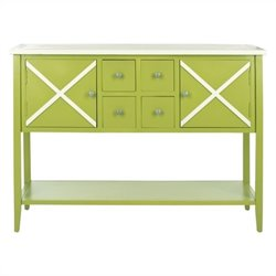 Safavieh Adrienne Poplar Wood Sideboard in Green and White