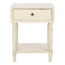 Safavieh Siobhan Poplar Wood Night Table in Distressed Vanilla