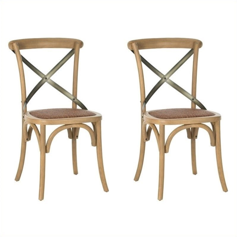Safavieh Eleanor X Back  Dining Chair in Weathered Oak (Set of 2)