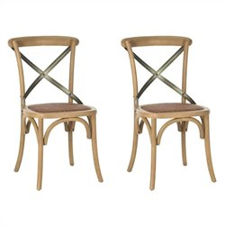 Safavieh Eleanor X Back Side Chair in Weathered Oak (Set of 2)