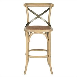Safavieh Eleanor Oak Wood Barstool in Weathered Oak