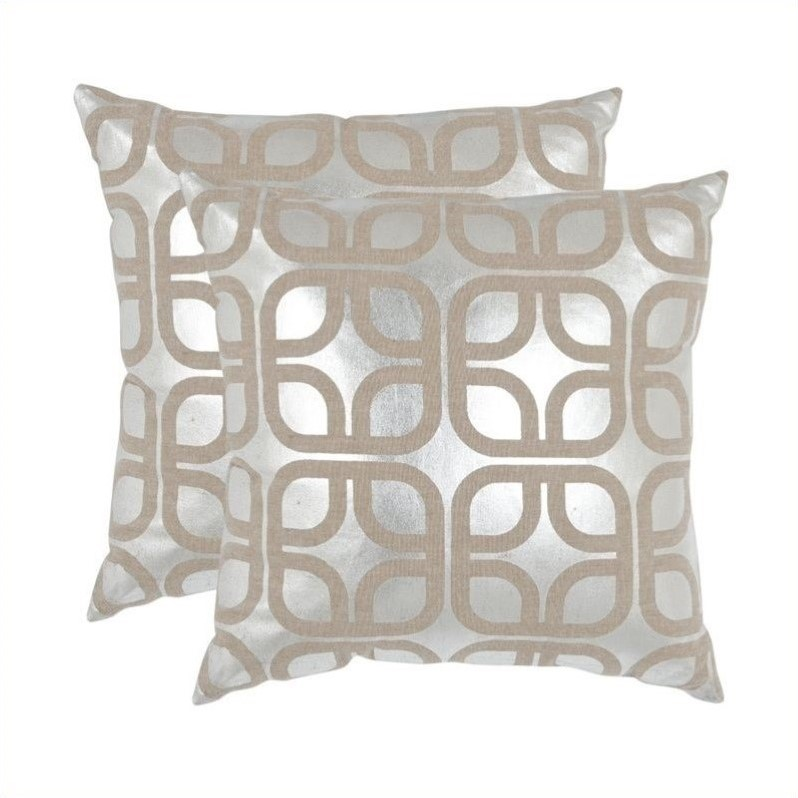 Safavieh Cole Pillow 18-inch Decorative Pillows in Silver (Set of 2)