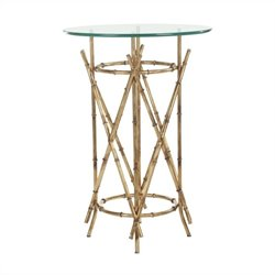 Safavieh Julia Iron snd Glass Antique Accent Table in Gold