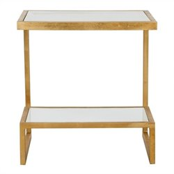 Safavieh Kennedy Iron and Glass Accent Table in Gold and White