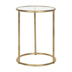 Safavieh Shay Iron and Glass Accent Table in Gold