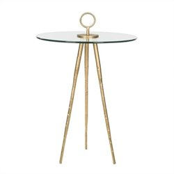 Safavieh Delma Iron and Glass Accent Table in Gold