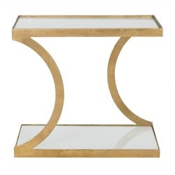Safavieh Sullivan Iron and Glass Accent Table in Gold and White