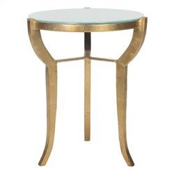 Safavieh Ormond Iron and Glass Accent Table in Gold and White
