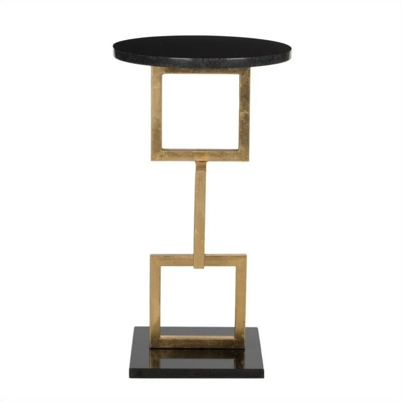 Safavieh Cassidy Iron and Marble Accent Table in Gold and Black
