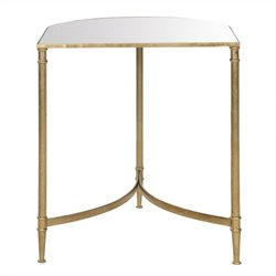 Safavieh Nevin Iron and Mirror Accent Table in Gold