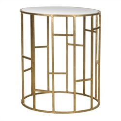 Safavieh Doreen Iron and Mirror Accent Table in Gold