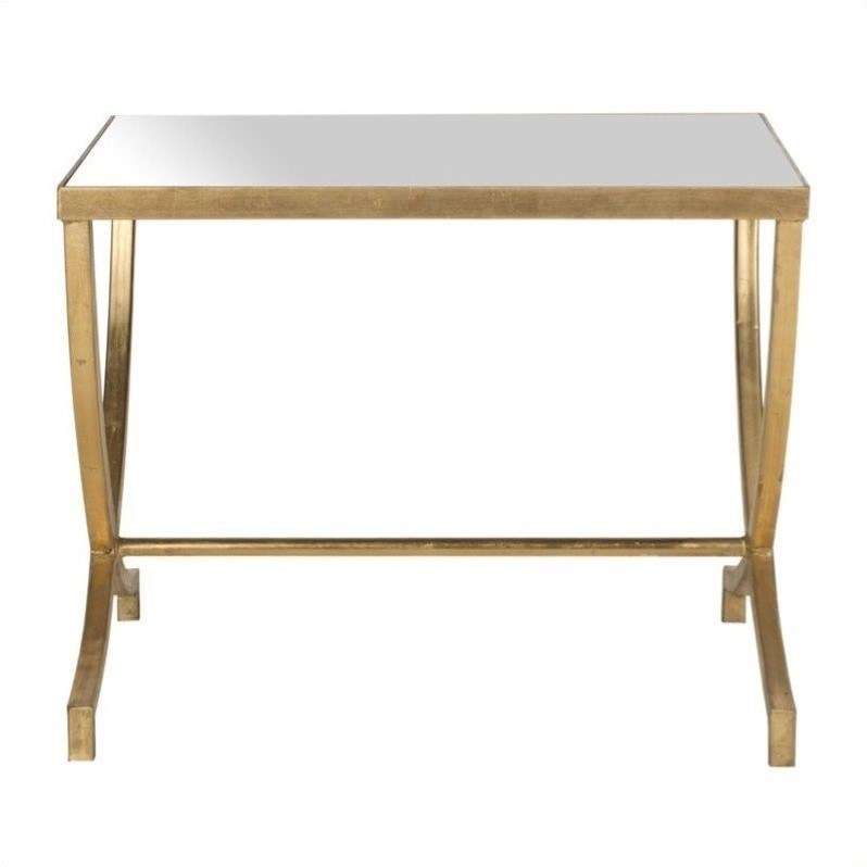 Safavieh Maureen Iron and Mirror Accent Table in Gold