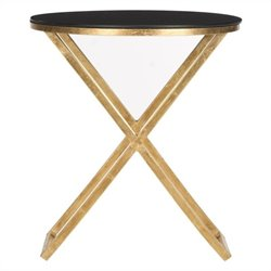 Safavieh Riona Iron and Glass Accent Table in Gold and Black