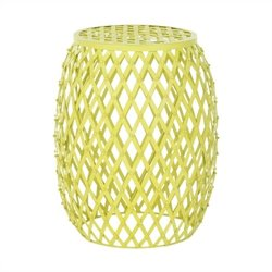 Safavieh Steve Iron Strips Stool in Matte Yellow