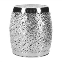 Safavieh Barry Aluminum Stool in Nickle Plated
