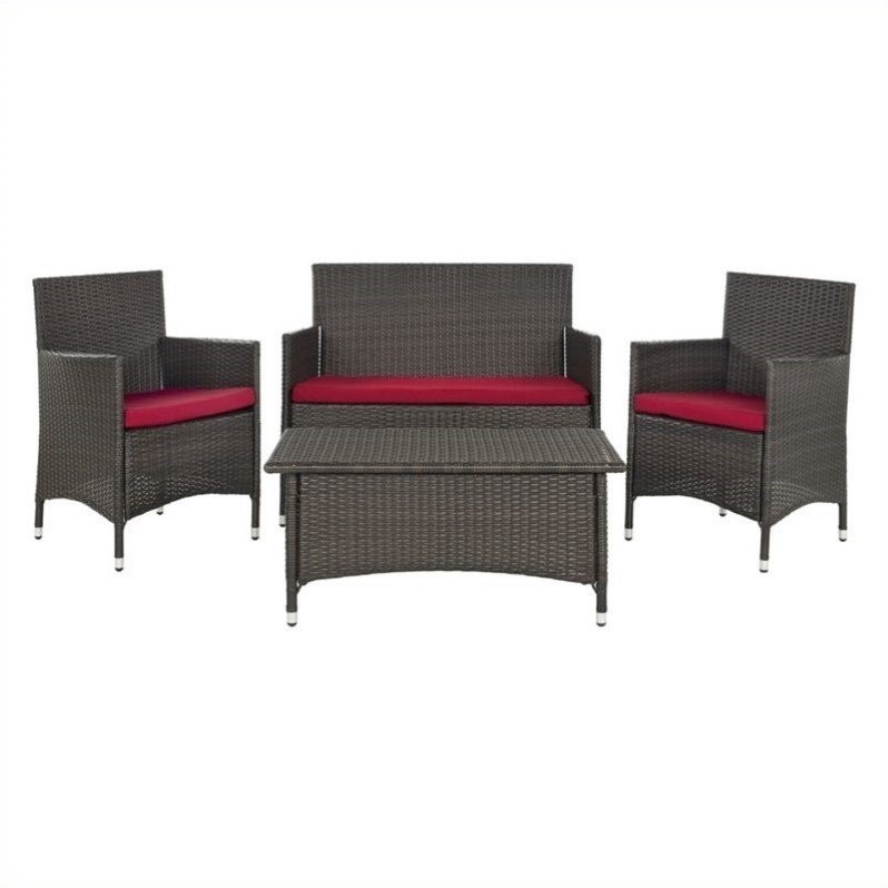 Mojavi Wicker 4 Piece Set in Brown and Red