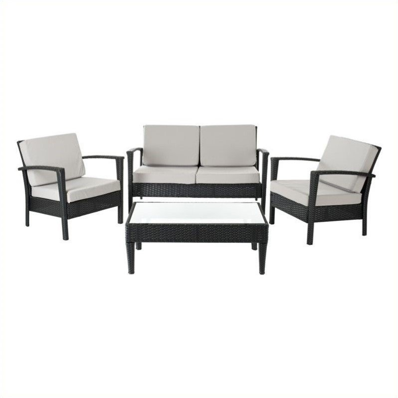 Safavieh Piscataway Aluminum 4 Piece Set in Charcoal