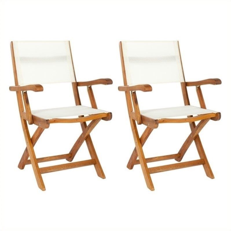Safavieh Andy Acacia  Folding Arm Dining Chair in Natural (Set of 2)