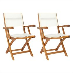 Safavieh Andy Acacia Wood Folding Arm Chair in Natural (Set of 2)