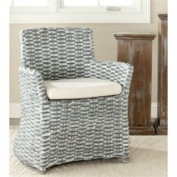 Safavieh Renee Rattan and Cotton Arm Chair in Grey