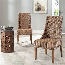 Safavieh Stacy Mango Wood Arm Chair in Brown (Set Of 2)