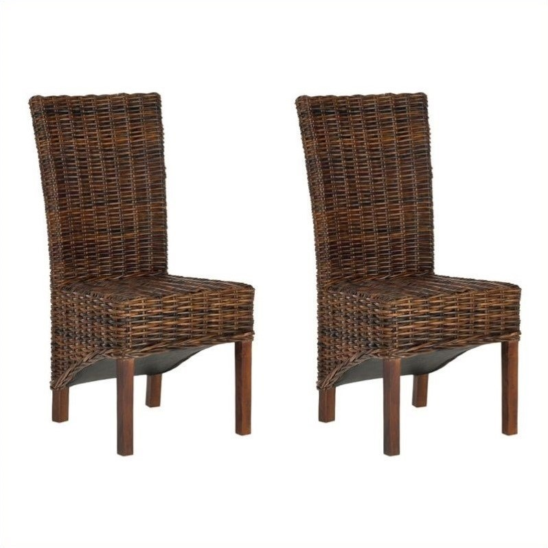 Safavieh Ridge Rattan  Dining Chair in Croco Color (Set of 2)