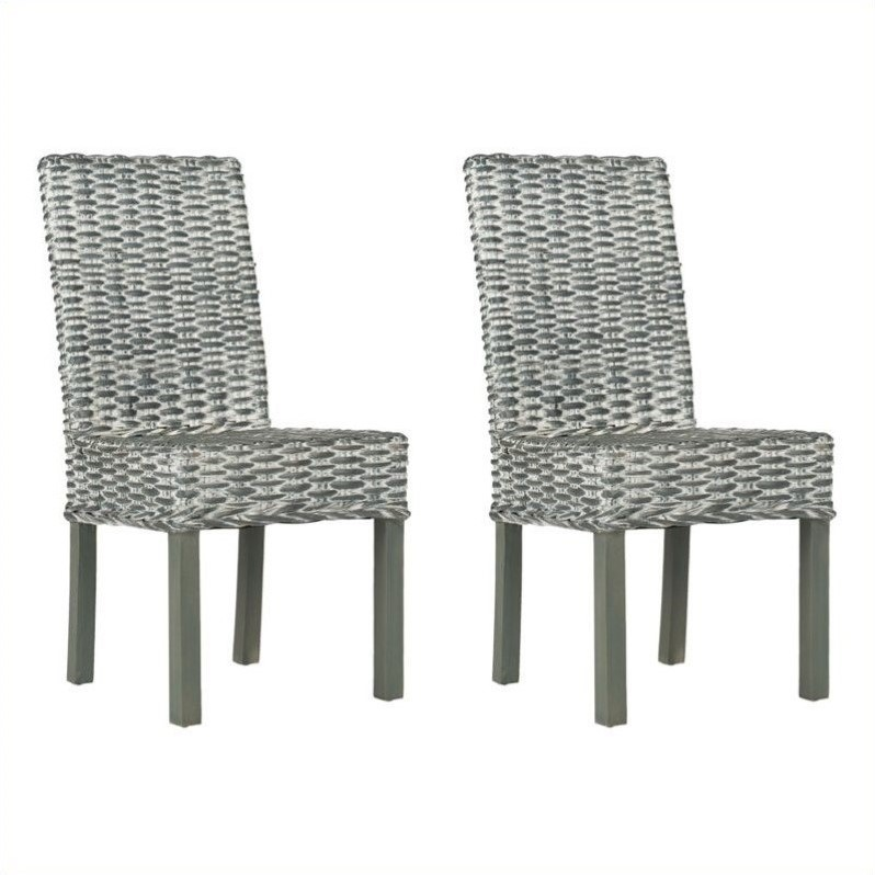 Safavieh Wheatley Rattan  Dining Chair in Grey White Wash (Set of 2)