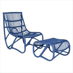 Safavieh Shenandoah Rattan Chair and Ottoman in Blue