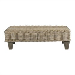 Safavieh Leary Wicker and Wooden Bench in Natural Unfinished