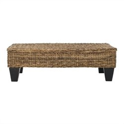 Safavieh Leary Wicker and Wooden Bench in Natural