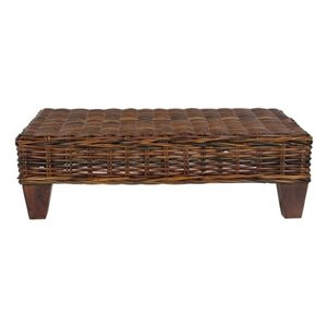 Safavieh Leary Wicker and Wooden Bench in Croco Color