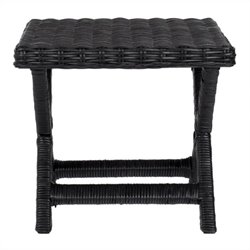 Safavieh Manor Wicker and Wooden Bench in Black