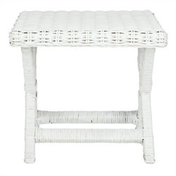 Safavieh Manor Wicker and Wooden Bench in White