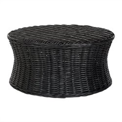 Safavieh Ruxton Wicker and Wooden Ottoman in Black